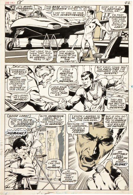 92003: Neal Adams and Tom Palmer X-Men #58 Page 17 Orig