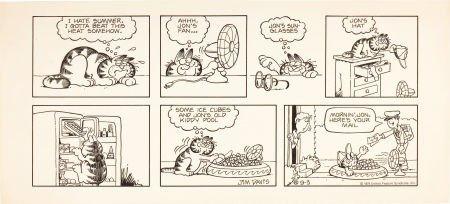 92096: Jim Davis Garfield Sunday Comic Strip Original A