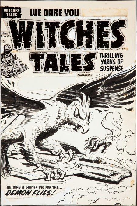 92009: Al Avison Witches Tales #28 Cover Original Art (