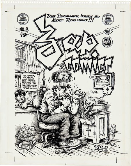 92375: Robert Crumb Zap Comics #8 Cover Original Art wi