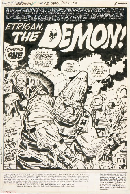 92215: Jack Kirby and Mike Royer The Demon #12 Splash P