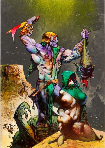 92033: Simon Bisley Alien Savage and Consort Illustrati