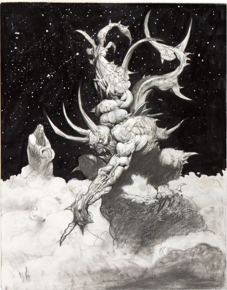 92035: Simon Bisley Satan Defiant Illustration Original