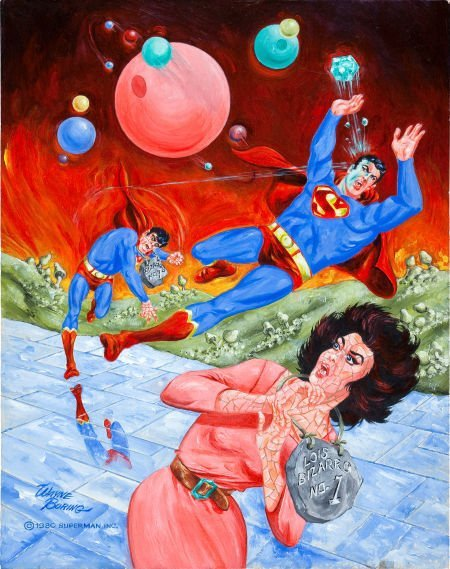 92041: Wayne Boring Superman and Bizarros Painting Orig