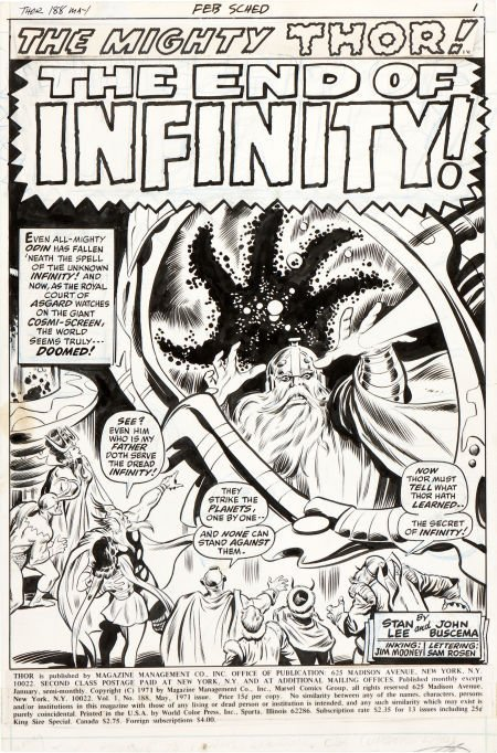 92045: John Buscema and Jim Mooney Thor #188 Splash Pag