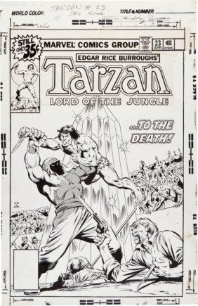 John Buscema And Bob McLeod Tarzan #23 Cover Ori