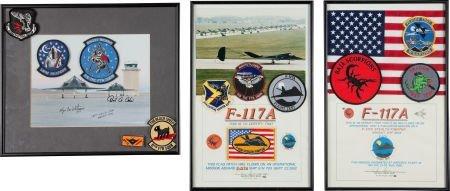 40006: F-117A Nighthawk: Group of Three Framed Patch an