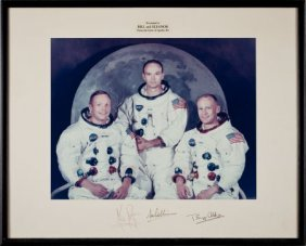 Apollo 11 Large Color Photo Crew-Signed On Mat O