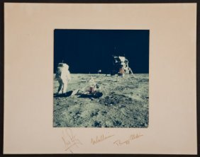 Apollo 11 Color Photo On A Crew-Signed Mat.
