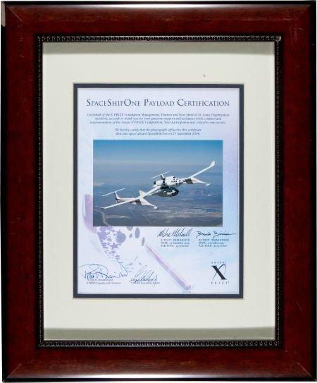 40025: SpaceShipOne Flown Photo on Signed Certificate.