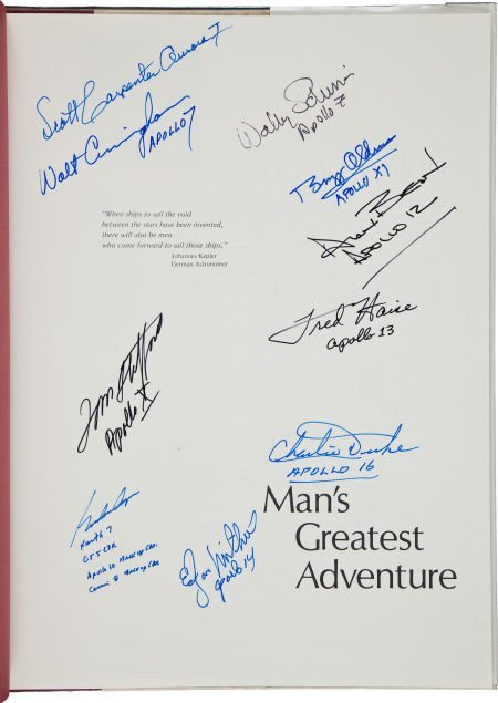 40208: Man's Greatest Adventure Book Signed by Ten Astr