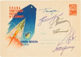 Soviet Philatelic Cover Signed By Yuri Gagarin A