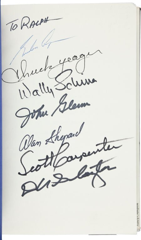 """40032: """"Mercury Seven"""" The Right Stuff Book Signed by S"""