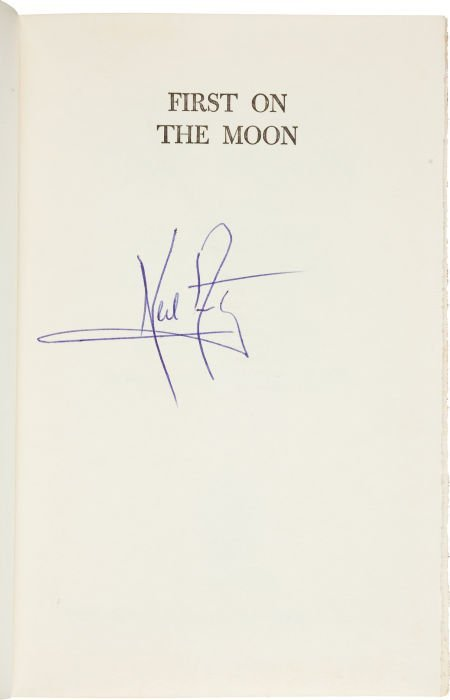 40122: Neil Armstrong Signed Book: First on the Moon.