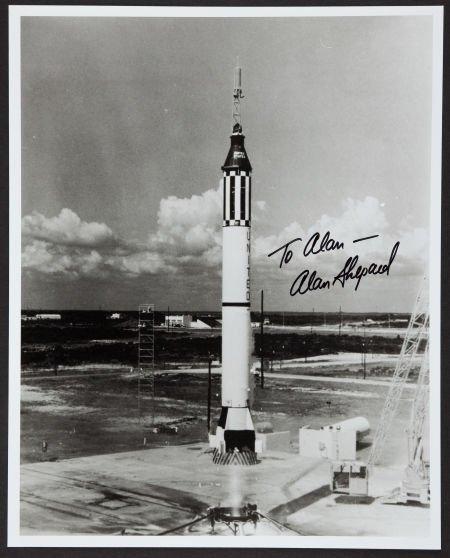 40034: Alan Shepard Signed B&W Photo.