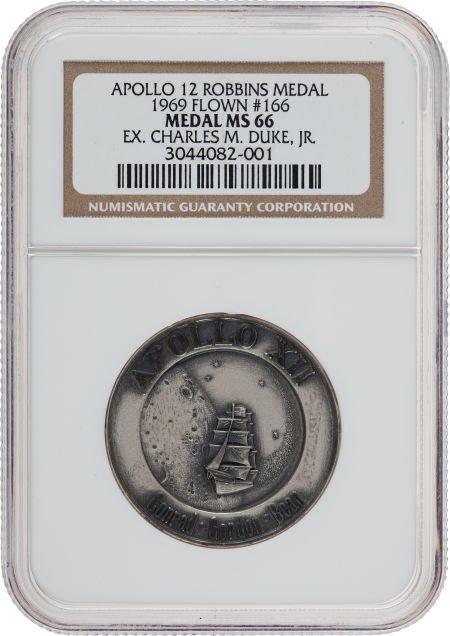 40127: Apollo 12 Flown MS66 NGC Silver Robbins Medallio
