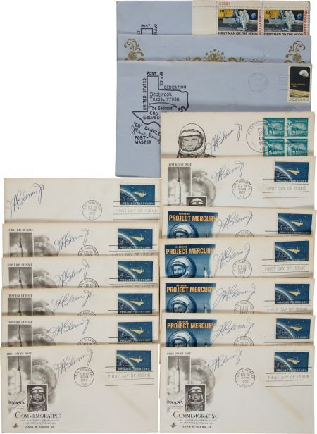 40038: John Glenn and Frank Borman Signed Cover Collect