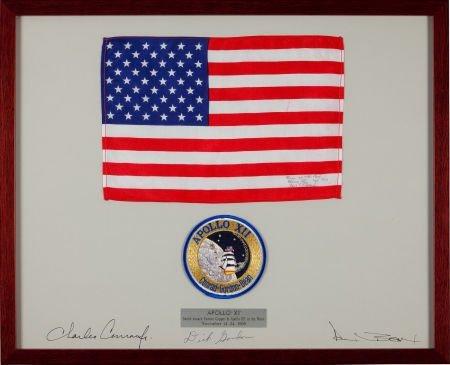 40129: Apollo 12 Flown Framed Larger-Size American Flag