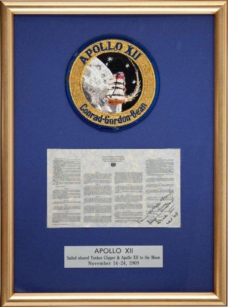 40130: Apollo 12 Flown Framed Space Treaty Originally f