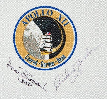 40132: Apollo 12 Beta Cloth Mission Insignia Signed by