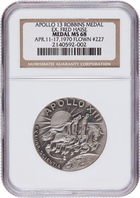 40136: Apollo 13 Flown MS68 NGC Silver Robbins Medallio
