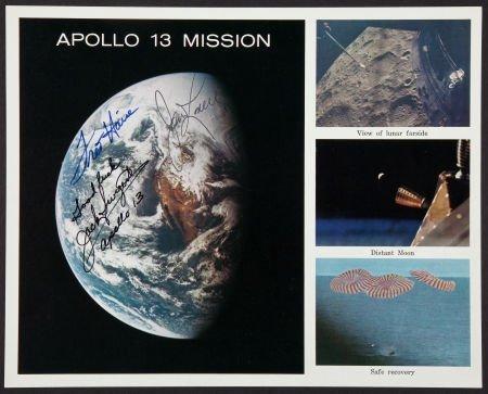 40138: Apollo 13 Crew-Signed Color Photo.