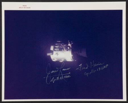 40141: Apollo 13 Color Photo Signed by Lovell and Haise