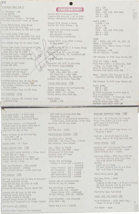 """40142: Apollo 13 Training-Used """"EVA 2 Prep & Post"""" Cue"""