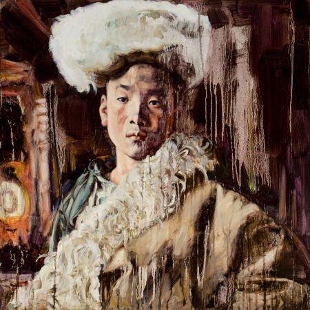 89045: HUNG LIU (Chinese, b. 1948) Chinese Portrait Oil