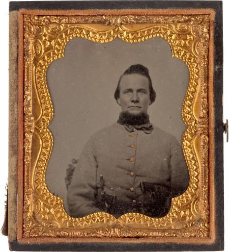 52014: Great Armed Confederate Sixth Plate Ambrotype