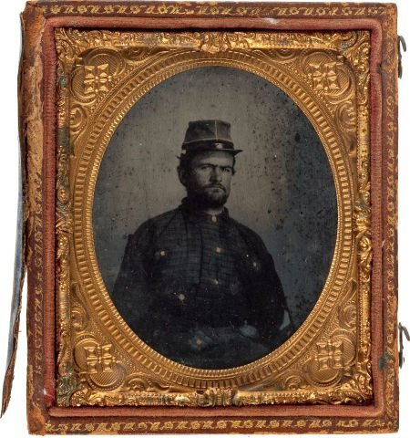 52015: Sixth Plate Ferrotype Of Hard Looking Confederat