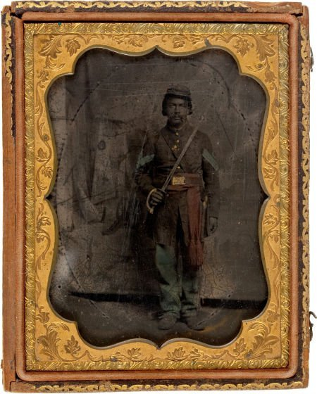 52018: Civil War Quarter Plate Tintype Of Black Infantr