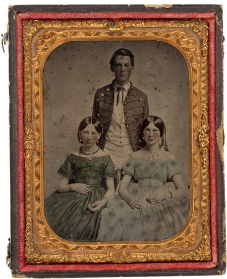 52019: Very Early Or Pre War Quarter Plate Ambrotype Of