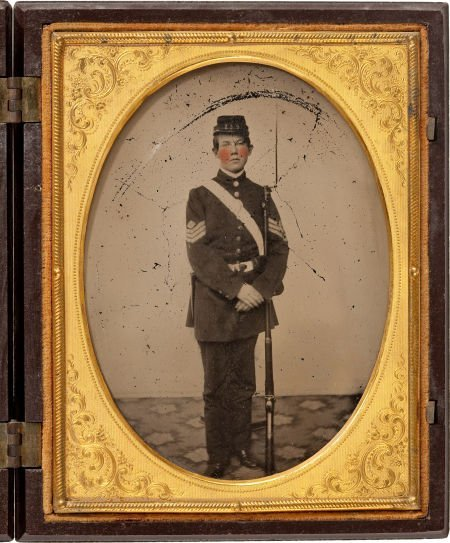 52023: Quarter Plate Ambrotype Of Young Infantry Sergea