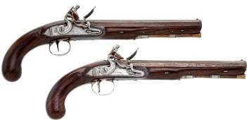 52299: Crisp Pair of Iron Mounted Patent Breech British