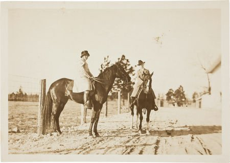 44022: Annie Oakley: An Original Photo on Horseback.