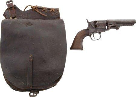 44208: Nineteenth Century Pommel Saddle Bags with Integ
