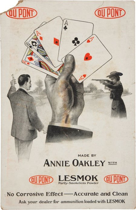 44071: Annie Oakley: Large DuPont Advertising Card.