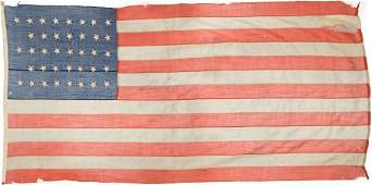 44156: Large 38 Star U.S. Flag, Possibly from Fort Abra