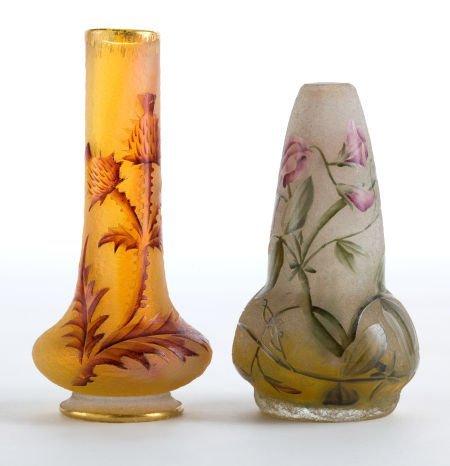 89008: TWO DAUM GLASS CABINET VASES  Daum Frères, Nancy