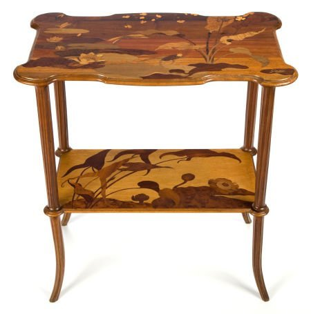 89014: A GALLÉ MARQUETRY TWO-TIERED SIDE TABLE  Émile G