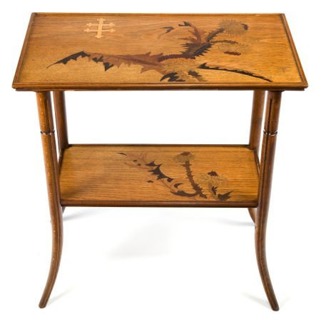 89015: A GALLÉ MARQUETRY TWO-TIER SIDE TABLE  Émile Gal