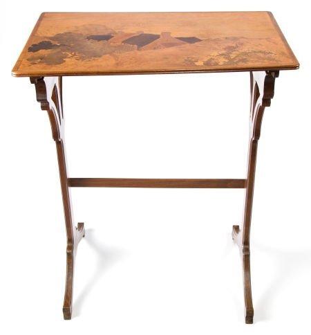 89017: A GALLÉ MARQUETRY SIDE TABLE  Émile Gallé (Frenc