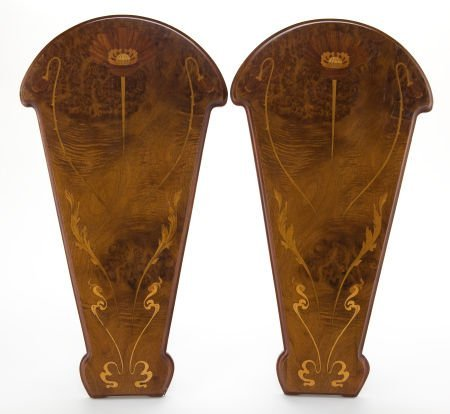 89018: A PAIR OF FRENCH INLAID MARQUETRY PANELS  Maker