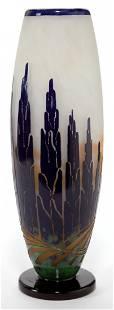 89107: A SCHNEIDER LE VERRE FRANCAIS GLASS CYPRES VASE