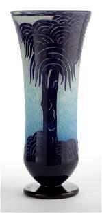 89111: A SCHNEIDER GLASS PALMIERS VASE Charles Schneid
