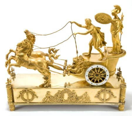 66003: A FRENCH EMPIRE GILT BRONZE AND METAL FIGURAL MA