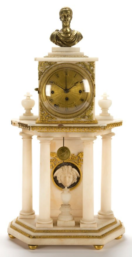 66005: A FRENCH LOUIS XVI-STYLE ALABASTER AND PATINATED