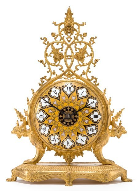 66011: A BARBEDIENNE FRENCH BRONZE AND ENAMEL MANTEL CL