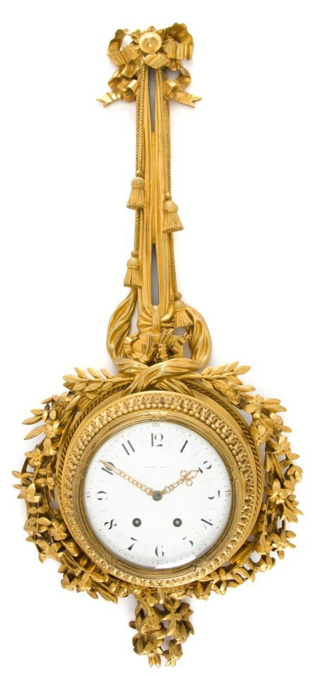 66013: A FRENCH GILT BRONZE WALL CLOCK RETAILED BY TIFF